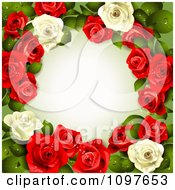Valentines Day Or Wedding Background With Red And White Dewy Roses Encircling Copyspace