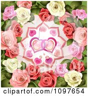 Clipart Valentines Or Wedding Background Pink And White Roses Around Entwined Hearts Royalty Free Vector Illustration