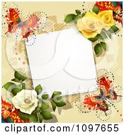 Clipart Valentines Day Or Wedding Note With Roses And Butterflies Over Tan 3 Royalty Free Vector Illustration by merlinul
