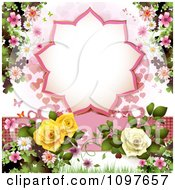Clipart Wedding Or Valentines Background With Blossoms Roses Butterflies And A Burst Frame Royalty Free Vector Illustration