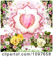 Wedding Or Valentines Day Background With A Dewy Pink Heart And Roses