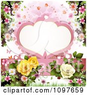 Wedding Or Valentines Background With Blossoms Roses Butterflies And A Frame