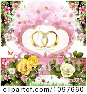 Clipart Engagement Or Wedding Background Golden Rings Over Hearts Blossoms And Roses Royalty Free Vector Illustration