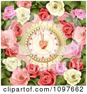 Wedding Or Valentines Day Heart Clock Background With Pink And White Roses
