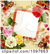 Valentines Day Or Wedding Note With Roses And Butterflies Over Tan 1