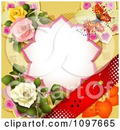 Valentines Day Or Wedding Note With Roses And A Butterfly Over Yellow