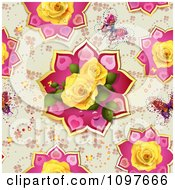 Seamless Butterfly And Yellow Roses Valentines Day Or Wedding Background
