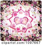 Wedding Or Valentines Day Background With Blossoms Framing Entwined Hearts