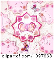 Valentines Day Background Pattern Of Entwined Hearts Petals And Butterflies