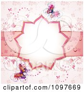 Clipart Pink Floral Shaped Wedding Frame With Vines And Butterflies Royalty Free Vector Illustration