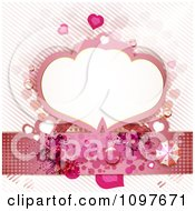 Clipart Copyspace Frame Wedding Or Valentines Background With Hearts Butterflies And Stripes Royalty Free Vector Illustration