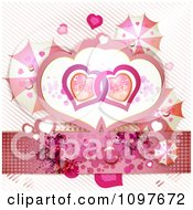 Clipart Wedding Or Valentines Background With Butterflies Umbrellas And Entwined Hearts Over Stripes Royalty Free Vector Illustration
