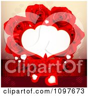 Clipart Copyspace Frame Wedding Or Valentines Background With Hearts Butterflies And Red Roses Royalty Free Vector Illustration