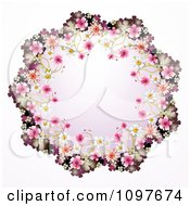 Clipart Wedding Frame Of Pink And White Blossoms Royalty Free Vector Illustration