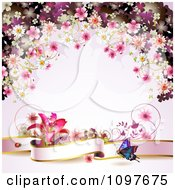 Clipart Pink Floral Blossom Wedding Background With A Lily Butterfly And Banner Royalty Free Vector Illustration