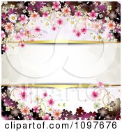 Clipart Pink Floral Blossom Wedding Background With Gold Borders Around Copyspace Royalty Free Vector Illustration