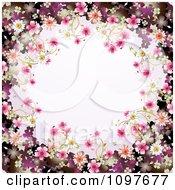 Pink Floral Blossom Wedding Border