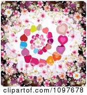 Clipart Wedding Or Valentines Day Background With Blossoms Framing Spiraling Hearts And A Daisy Royalty Free Vector Illustration