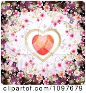 Clipart Wedding Or Valentines Day Background With Blossoms Framing A Sparkly Heart Royalty Free Vector Illustration