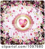 Clipart Wedding Or Valentines Day Background With Blossoms Framing A Pink And Gold Heart Royalty Free Vector Illustration