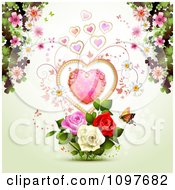Valentines Day Or Wedding Background With A Dewy Heart Roses Blossoms And Butterfly