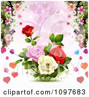 Clipart Valentines Day Or Wedding Background With Roses And Hearts Royalty Free Vector Illustration
