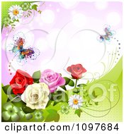 Spring Time Or Wedding Background With Roses And A Butterfly 2