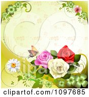 Clipart Spring Time Or Wedding Background With Roses And A Butterfly 1 Royalty Free Vector Illustration