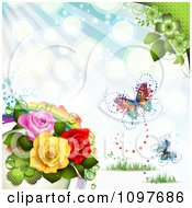Clipart Spring Time Or Wedding Background With A Rainbow Roses And Butterflies Royalty Free Vector Illustration