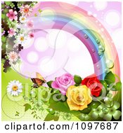 Spring Time Or Wedding Background With A Rainbow Roses And A Butterfly