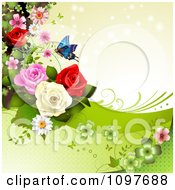 Clipart Spring Time Or Wedding Background With Roses And A Butterfly 5 Royalty Free Vector Illustration