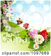 Clipart Spring Time Or Wedding Background With Roses And A Butterfly 4 Royalty Free Vector Illustration