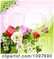 Clipart Spring Time Or Wedding Background With Roses And A Butterfly 3 Royalty Free Vector Illustration