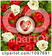 Clipart Valentines Day Or Wedding Background With A Red Heart Encircled With Dewy Roses Royalty Free Vector Illustration
