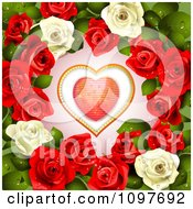 Clipart Valentines Day Or Wedding Background With A Red Heart And Dewy Roses Royalty Free Vector Illustration