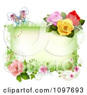 Spring Time Or Wedding Frame With Roses Blossoms And A Butterfly
