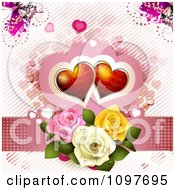 Clipart Wedding Or Valentines Day Background Of Red Hearts Over Three Dewy Roses On Pink With Butterflies Royalty Free Vector Illustration