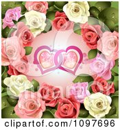 Clipart Wedding Or Valentines Day Background Pink And White Roses Around Entwined Hearts Royalty Free Vector Illustration