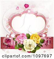 Clipart Wedding Or Valentines Background With Dewy Roses Butterflies And A Frame Royalty Free Vector Illustration