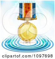 3d Sports Achievement Gold First Place Award Medal On A Ribbon Over Blue Lines And Rays