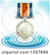 Clipart 3d Sports Achievement Silver Second Place Award Medal On A Ribbon Over Blue Lines And Rays Royalty Free Vector Illustration
