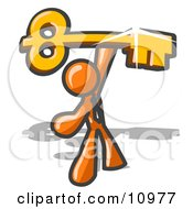 Excited Orange Businessman Holding Up A Large Golden Skeleton Key Clipart Illustration