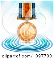 Clipart 3d Sports Achievement Bronze Third Place Award Medal On A Ribbon Over Blue Lines And Rays Royalty Free Vector Illustration