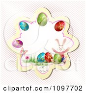 Clipart Pink Easter Frame With A Butterfly Rabbit And Colorful Eggs Over Diagonal Stripes Royalty Free Vector Illustration by merlinul