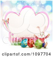 Pink Easter Frame With A Butterfly Rabbit And Eggs Over Blue Rays
