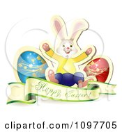 Clipart Happy Easter Greeting Banner With Two Eggs And A Bunny Royalty Free Vector Illustration
