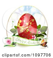 Clipart Happy Easter Greeting Banner With A Red And Gold Egg Blossoms And Butterflies Royalty Free Vector Illustration by merlinul