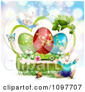 Clipart Jolly Easter Bunnies With A Green Frame With Blossoms Eggs And Butterflies Over Blue Rays Royalty Free Vector Illustration by merlinul