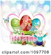Clipart Jolly Easter Bunny With A Pink Frame Blossoms Eggs And Butterflies Over Colorful Rays Royalty Free Vector Illustration