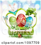 Clipart Jolly Easter Bunny Over A Green Frame With Blossoms Eggs And Butterflies Over Blue Rays Royalty Free Vector Illustration by merlinul